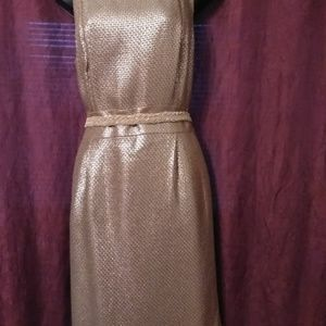 Banana Republic Womens Gold Metallic Dress Sz: 12